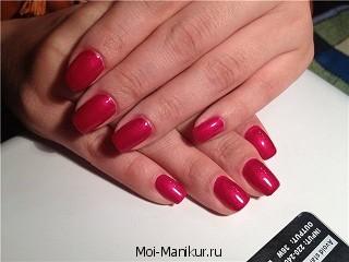 Классический маникюр розового цвета.