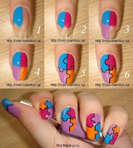 Рисуем мазаику на ногтях