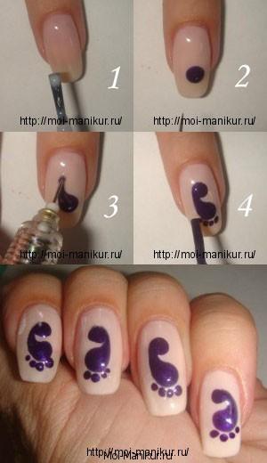 """Дизайн ногтей с помощью иголки """"Следы"""""""