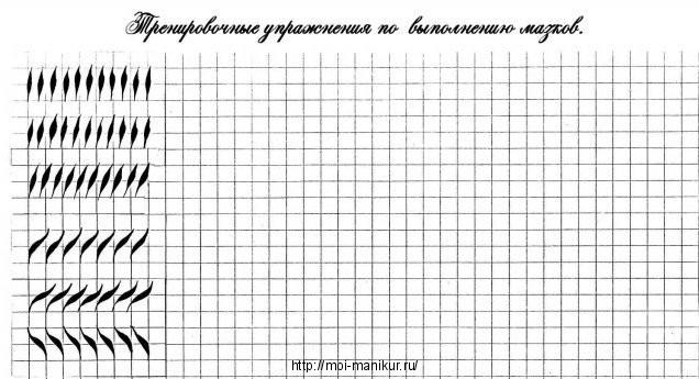 Выполняем мазки на тренировочной карте для росписи ногтей.