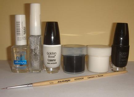 Черная и белая акриловые краски, лаки, закрепитель, кисточка и серебряный лак для рисования