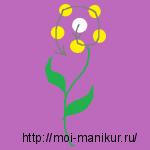 """Схема рисунка иголкой """"Полевой цветок""""."""