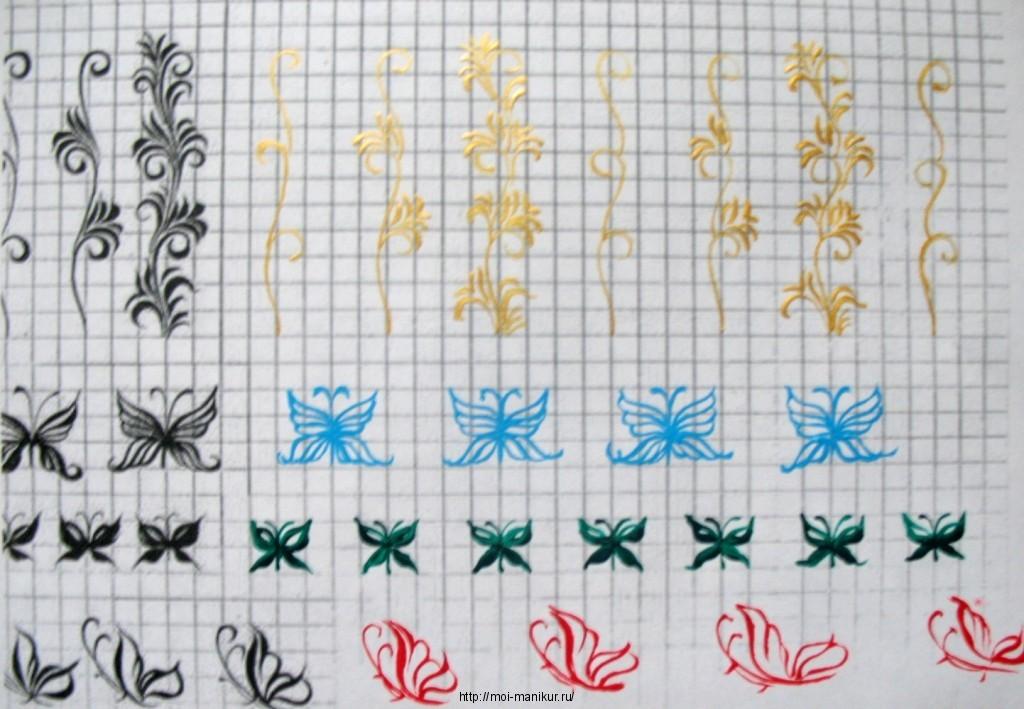 Схемы росписей на ногтях