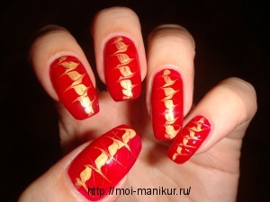 """Рисуем иголкой на ногтях дизайн """"Геометрия треугольника"""""""