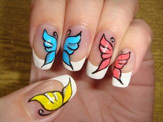 Рисунки бабочек на ногтях акриловыми красками.