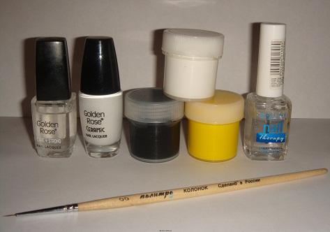 """Необходимые инструменты для дизайна ногтей """"Веселые пчелки""""."""