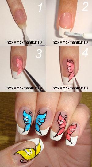 """Дизайн ногтей акрилом """"Крылья бабочки"""""""