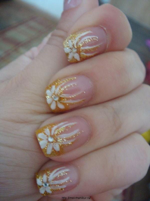 """Дизайн ногтей акриловыми красками """"Белое золото""""."""
