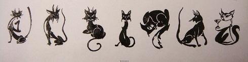 Котики на тренировочной карте для росписи ногтей
