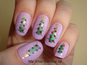 Новогодний дизайн ногтей с помощью иголки