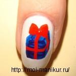 Акриловыми красками на ногтях рисуем новогодний подарок.