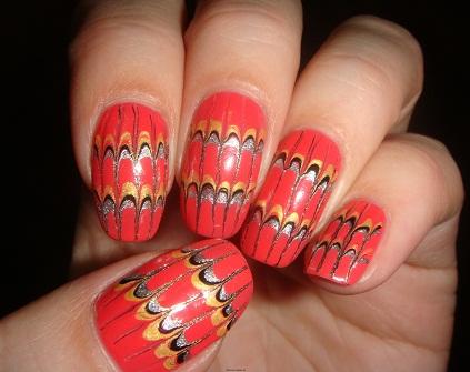 """Дизайн ногтей с помощью иголки """"Параллели""""."""