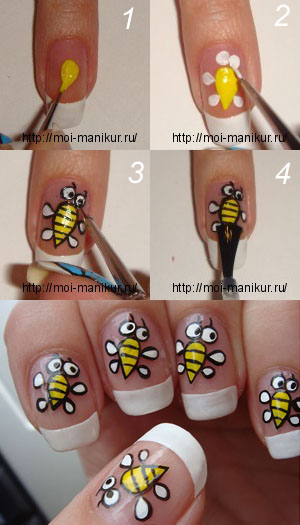 рисуем пчелок на ногтях