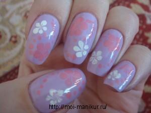 """Дизайн ногтей с помощью иголки """"Зимние цветы"""""""