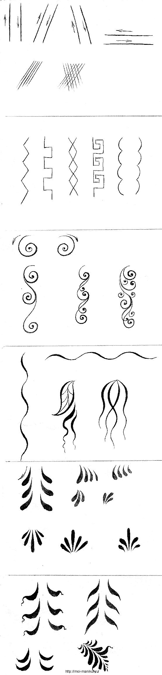 Тренировочная карта для росписи ногтей: несколько простых элементов.