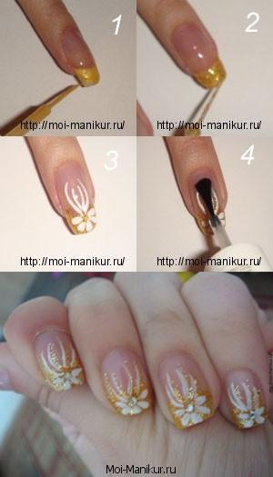 """Дизайн ногтей """"Золотые цветы"""""""