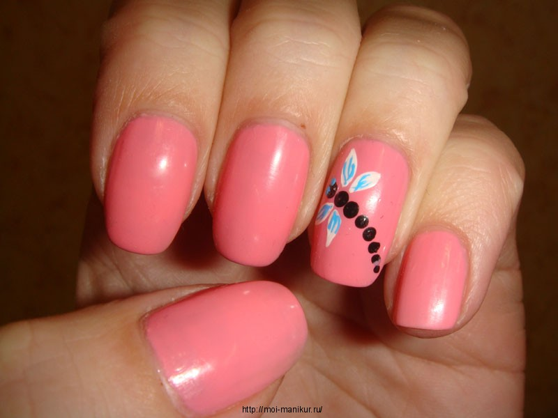 """Дизайн ногтей акриловыми красками """"Стрекоза""""."""