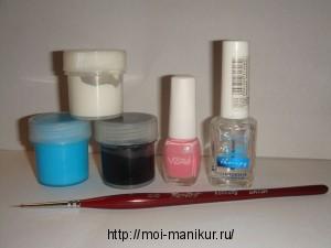 """Маникюрные инструменты для дизайна ногтей акриловыми красками """"Стрекоза""""."""