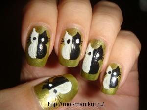 """Дизайн ногтей акрилом """"Черно-белый кот"""""""