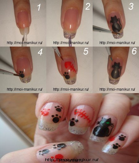 Фото урок дизайна ногтей: котики