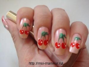 "Рисунки на ногтях иголкой ""Вишенки"""