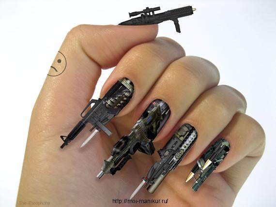 Дерзкий маникюр - оружейный нейл-арт