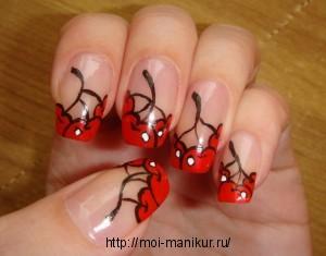 """Дизайн ногтей с помощью акриловых красок """"Гроздья вишен"""""""