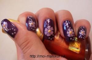 """Дизайн ногтей иголкой """"Фиолетовые цветы"""""""