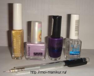 """Необходимые инструменты для дизайна ногтей иголкой """"Фиолетовые цветы"""""""