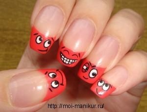 """Дизайн ногтей с помощью акрила """"Рожицы"""""""