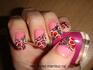 """Дизайн ногтей акрилом """"Цветочная симметрия"""
