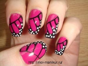 """Дизайн ногтей акриловыми красками """"Черно-розовый микс"""""""