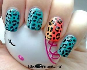 Леопардовый маникюр +в домашних условиях.