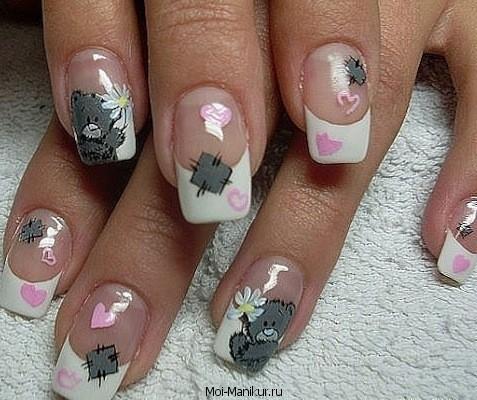 дизайн на ногтях мишек Тедди