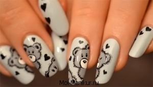 Дизайн ногтей мишки Тедди