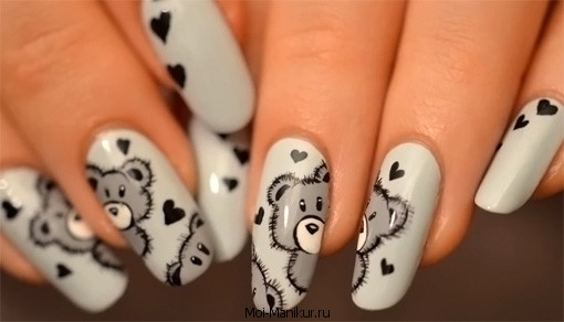 Дизайн ногте с мишками 48