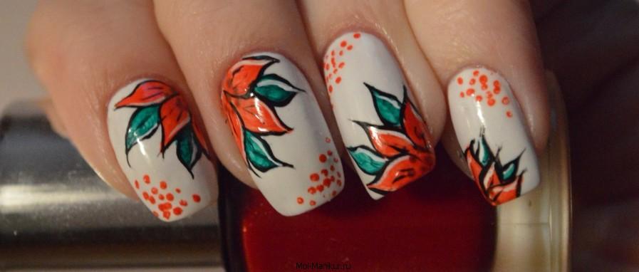 Дизайн ногтей акрилом: цветы