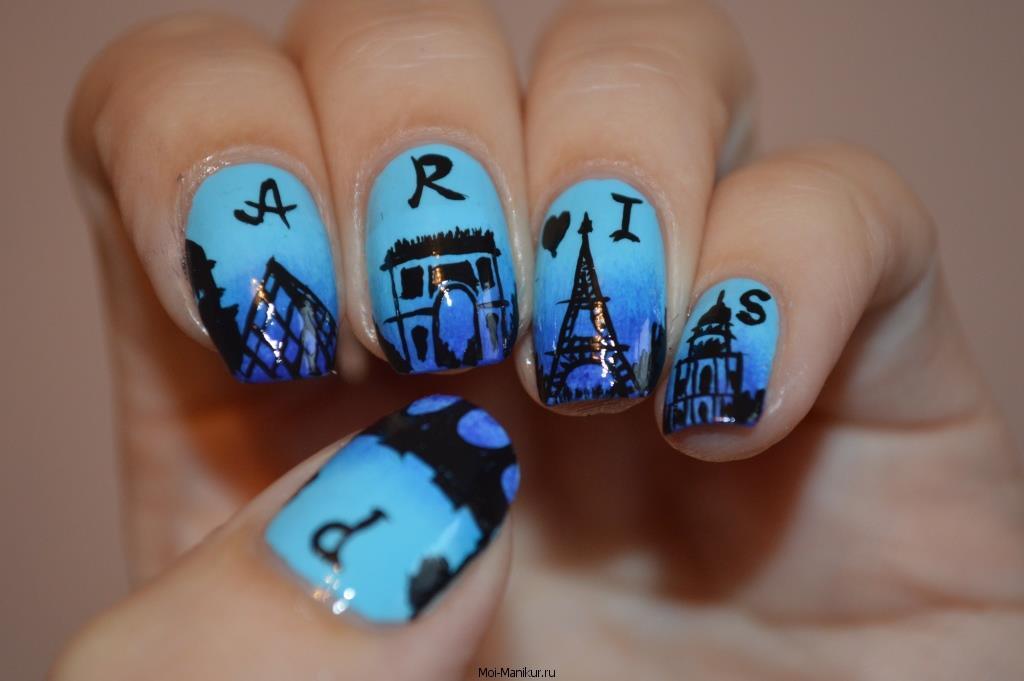 Дизайн ногтей акриловыми красками - Париж