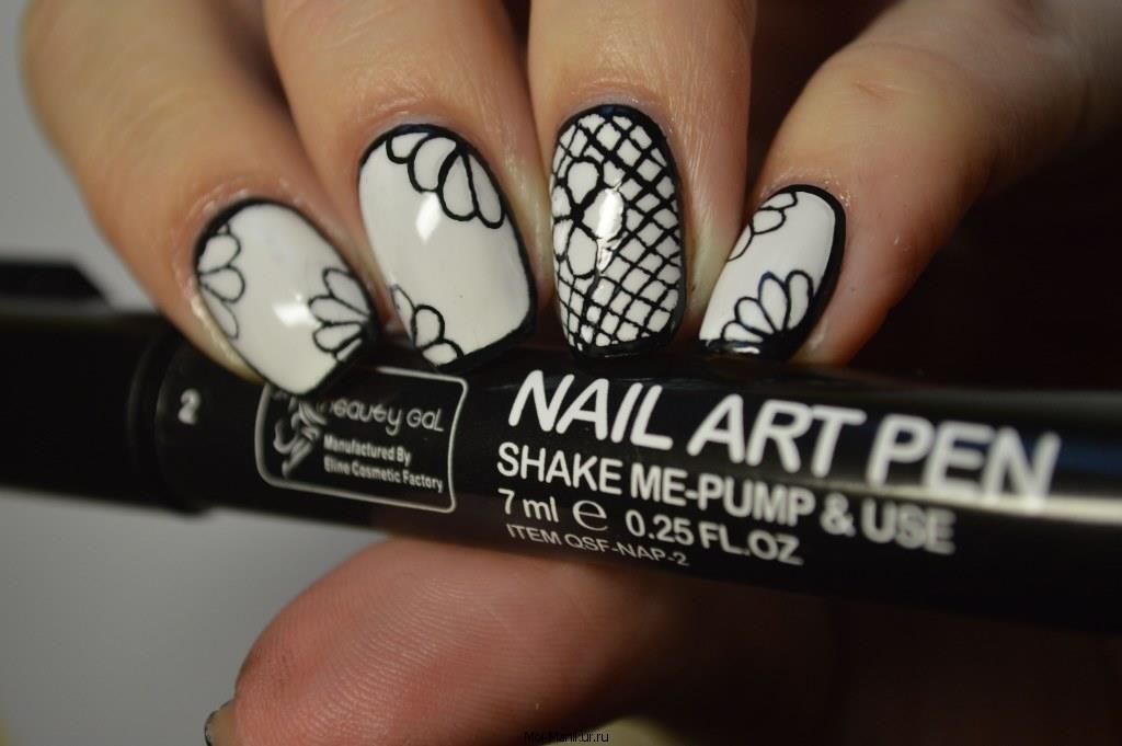 Рисунок перманентным маркером на ногтях