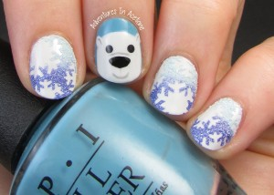 Polar Bear and Snowflake Nail Art 1