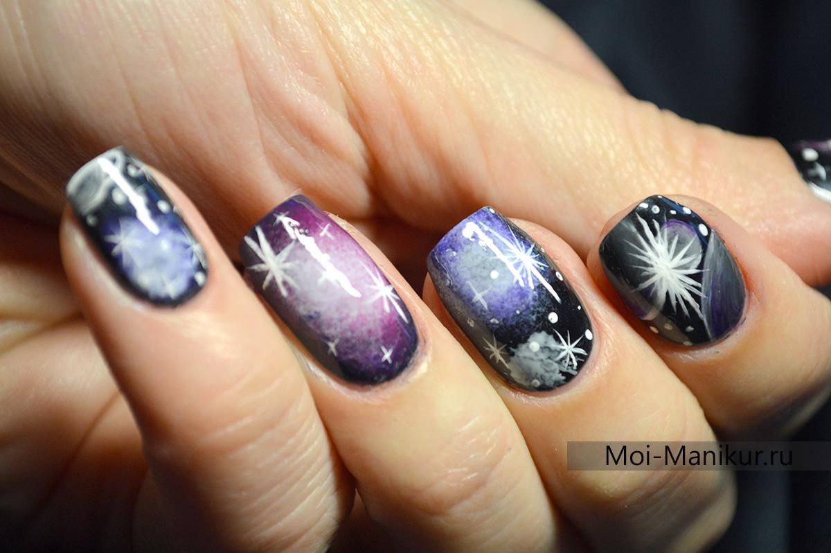 Дизайн космос для ногтей