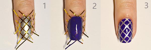 фото урок  - стеганый дизайн ногтей