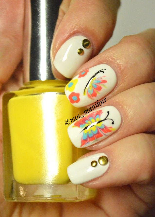Дизайн ногтей иголкой - бабочки