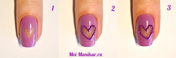 """Маникюр """"прозрачное сердце"""" на ногтях"""
