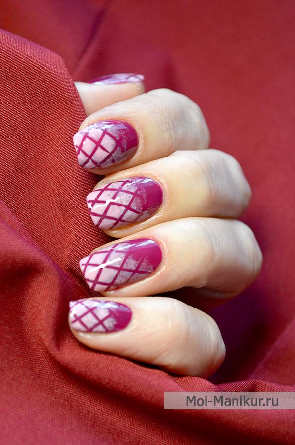 стеганый дизайн ногтей с градиентом