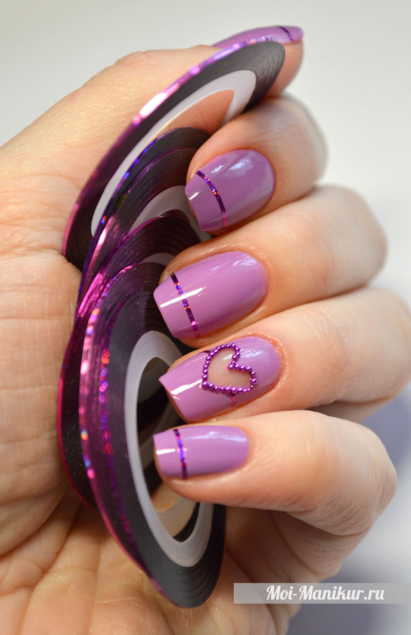negative space manicure - прозрачное сердце