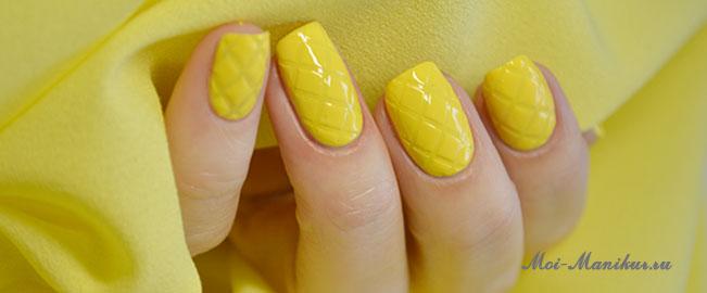 одноцветный стеганый дизайн ногтей
