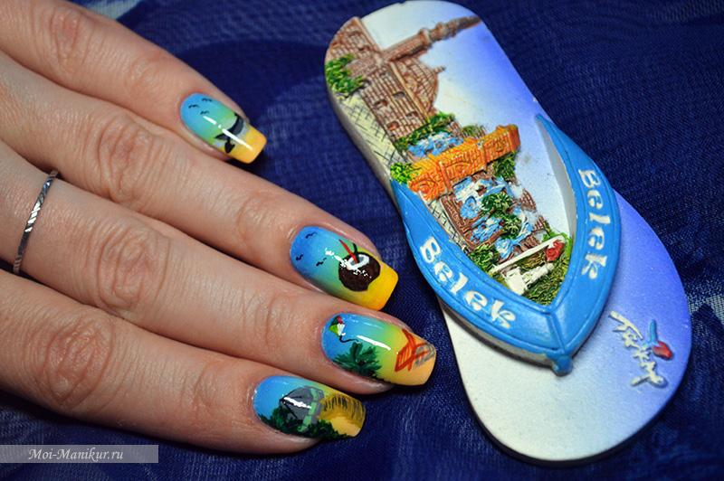 дизайн ногтей лето 2015 - море, солнце, пляж
