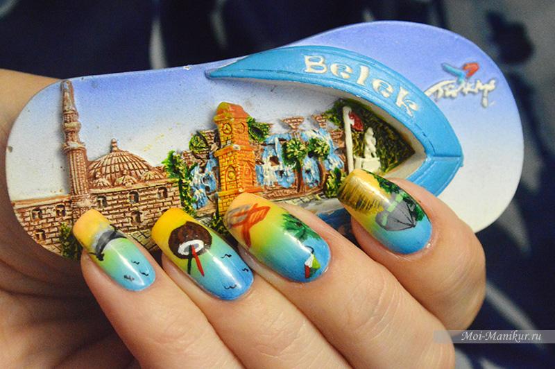 летний дизайн ногтей - роспись красками