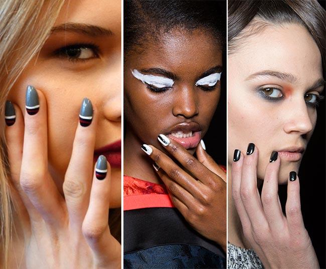 тенденции маникюра осень 2015 зима 2016: черно-белый дизайн